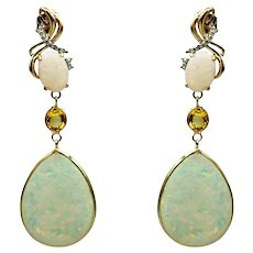Australian Opal, Yellow Sapphire and Diamonds Earrings in 14KT Yellow Gold