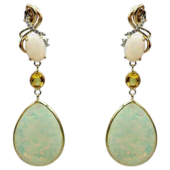 Australian Opal, Yellow Sapphire and Diamonds Earrings in 14KT Yellow Gold