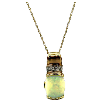 Australian Opal, Diamond and Pink Tourmaline Necklace in 14KT Yellow Gold