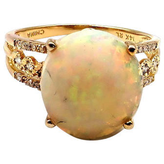 Royal Ethiopian Opal and Diamond Ring in 14KT Gold