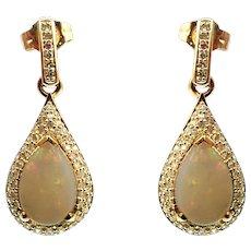 Australian Opal and Diamonds Earrings in 14KT Yellow Gold