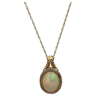 Ethiopian Opal and Diamond  Necklace in 14KT Yellow Gold