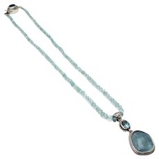 140 CT Natural Aquamarine 10CT Blue Topaz Handmade Sterling Silver Necklace - Red Tag Sale Item