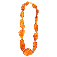 350CT Natural Baltic Amber Free Form shape in Necklace
