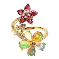 Ethiopian Opal, Pink Tourmaline and Diamond Flower Butterfly Ring in 10KT Gold