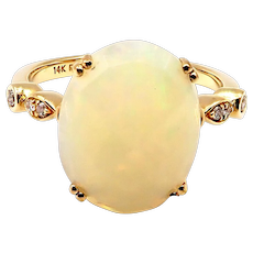 Ethiopian Opal and Diamond Ring in 14KT Gold