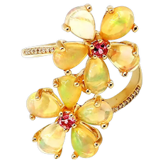 Royal Ethiopian Opal, Pink Tourmaline and Diamond Flowers Ring in 10KT Gold