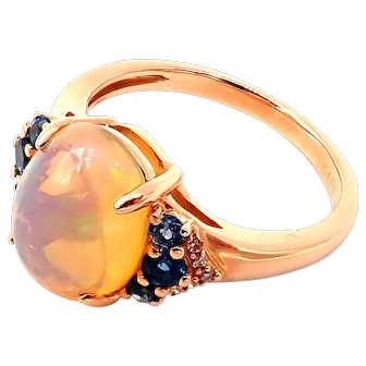 Ethiopian Opal, London Blue Topaz and Diamond Ring in 14KT Gold