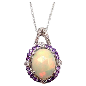 Ethiopian Opal, Amethyst and Diamond  Necklace in 14KT White Gold