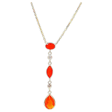 Mexican Fire Opal and Diamond  Necklace in 14KT Yellow Gold