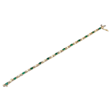 3.25CT Colombian Emerald and Diamond 14KT Yellow Gold Bracelet
