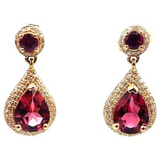 2.5CT Natural Rubellite Tourmaline and Diamonds Earrings 14KT Yellow Gold