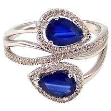 Unique Blue Sapphire Diamond Crossing Ring 14KT White Gold