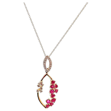 Ruby and Diamond Necklace 14KT Yellow Gold