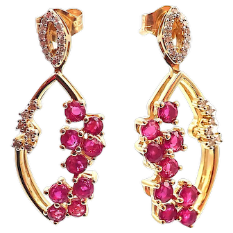 Unique Ruby and Diamond Designer Earrings 14KT Yellow Gold