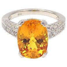 6.56CT Natural Yellow Sapphire and Diamond Ring in 18KT White Gold