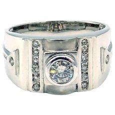 Modern Natural Diamond 14 KT White Gold Men's Ring