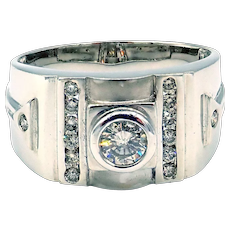 Modern Natural Diamond 14 KT White Gold Men's Ring
