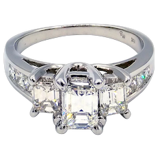 18KT White Gold GIA Natural Emerald cut Diamond Past Present and Future Engagement Ring or Wedding Band