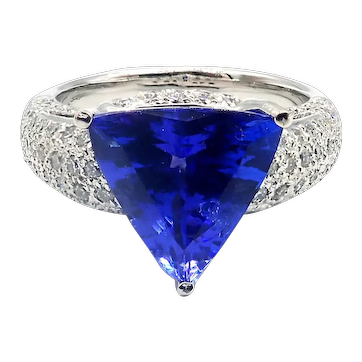 3.5 CT Royal Blue Natural Tanzanite and Diamond Ring in 18KT White Gold