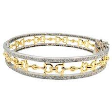 Natural Diamonds Bracelet 18 KT White & Yellow Gold Horseshoes Bangle Bracelet
