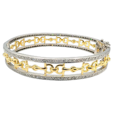 Natural Diamonds Bracelet 18 KT White & Yellow Gold Horseshoes Bangle Bracelet