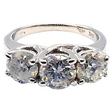3 Stone Past Present and Future Diamond Engagement Wedding Ring in 14KT White Gold