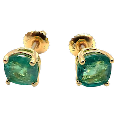 2 CT Natural Colombian Emerald Stud Earrings 18KT Yellow Gold with Screw Backs