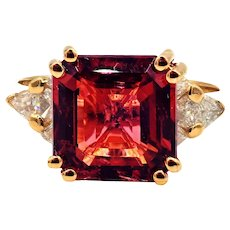 6CT Asscher Cut Padparadscha Pink Tourmaline and Diamond Ring in 18 KT Yellow Gold