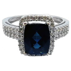 Rare Indicolite Blue Tourmaline and Halo Diamond Ring in 14KT White Gold
