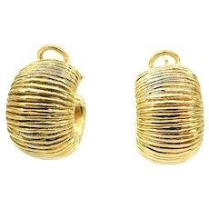 Retro Italian Earrings 18KT Yellow Gold Earrings