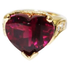 8 CT Natural Raspberry Rubellite Heart Tourmaline Diamond 18KT Gold Ring
