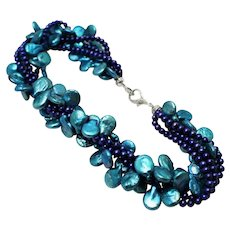 Amazing 5 strands Cultured Sea Colors Freshwater Pearl Sterling Silver Necklace