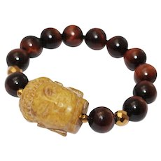 Natural Hand Carved Yellow Jade Buddha and Red Tiger's Eye Bracelet