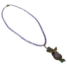 Natural Tanzanite, Old Mine Diamond, Emerald 18KT Gold & Sterling Silver Necklace