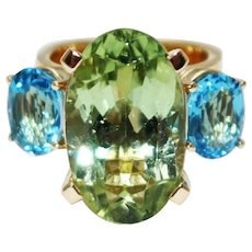 Natural Apple Green Chrome Tourmaline and Swiss Blue Topaz Custom Made Ring in 18KT Yellow Gold