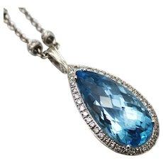 35 CT Swiss Blue Topaz Diamond Pendant Necklace 14KT Gold