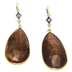 14kt Gold Stunning Hand Cut & Bezel Set Natural Golden Sapphire Slice Diamond Earrings