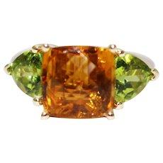Handmade Custom Natural Rarest Orange Tourmaline and Peridot Ring in 14KT Gold