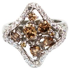 18KT White Gold 3 CT Natural Fancy Cut Chocolate and White Diamond Clover Shape Ring