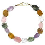 Natural Amethyst, Citrine, Rose Quartz, Prehnite and Quartz Crystal Handmade Sterling Silver Statement Necklace