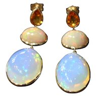 Handmade Natural Yellow Sapphire and 19 CT Ethiopian opal Earrings in 14KT Gold