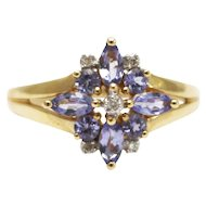 Natural Tanzanite and Diamond Ring in 14KT Yellow Gold