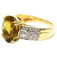 Natural Rare Golden Tourmaline and Diamond Ring in 14KT Yellow Gold