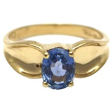Natural Blue Tanzanite Ring in 14KT Gold