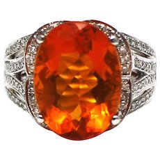 6 CT Natural Mexican Fire Opal and Diamond Ring in 14KT White Gold
