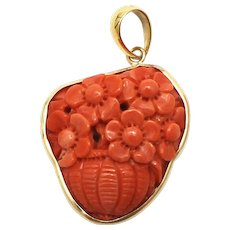 Natural Italian Red Coral Hand carved Flower Basket 18KT Yellow Gold Pendant
