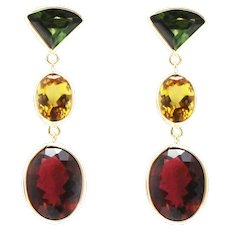 18CT Natural Chrome Green, Canary Yellow and Rubellite Pink Watermelon Tourmaline Earrings 14KT Gold
