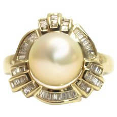 2 CT Diamond and Cultured South Sea Pearl Ring in 14KT Gold