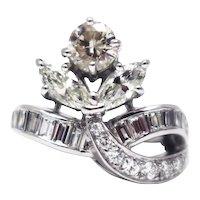 3.15 CT Hollywood Elegant Vintage Art Deco Natural Diamond Platinum Ring
